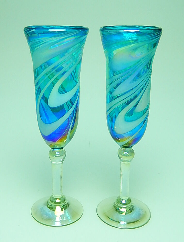 Champagne flutes hand blown turquoise with white iridescent swirls set of 2 ebay - Hand blown champagne flutes ...