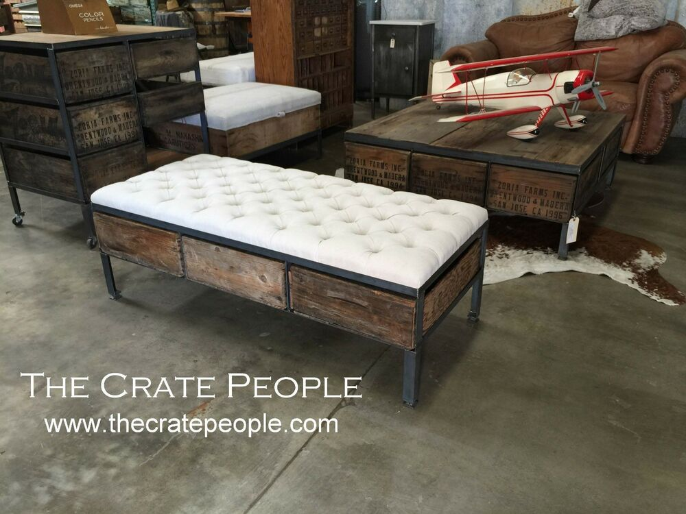 3 Crate Drawer Tufted Ottoman Or Bench Or Coffee Table