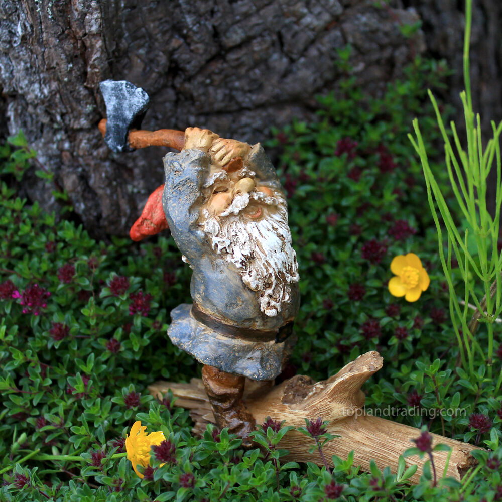 Gnome In Garden: Miniature Garden Gnome Chopping Wood /Fairy Hobbit Garden