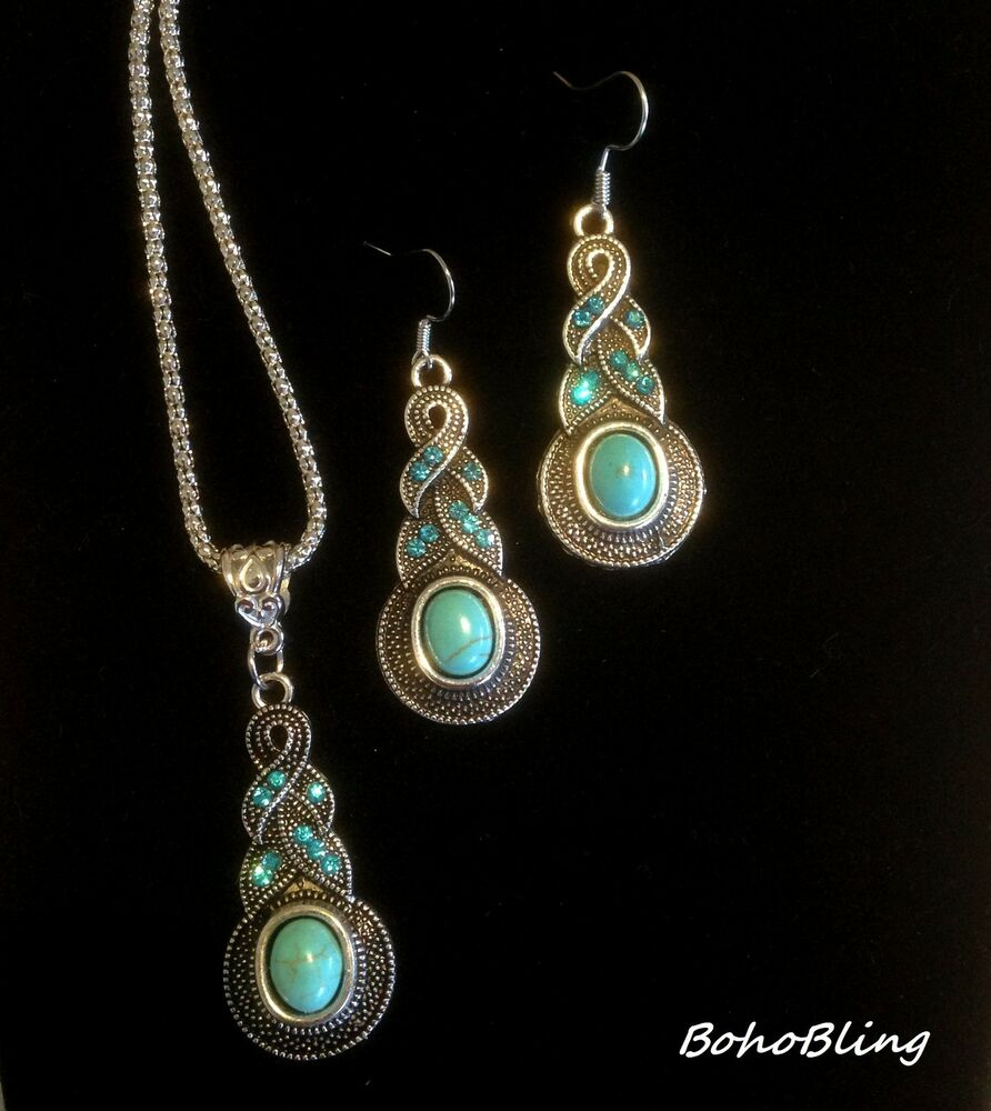 necklace earring vintage boho ethnic retro turquoise