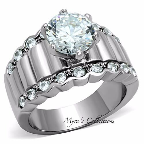3.25 CT ROUND CUT CZ STAINLESS STEEL WIDE BAND ENGAGEMENT ...