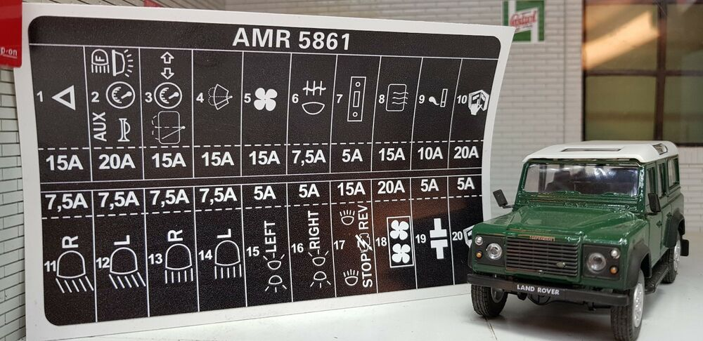 Land rover defender decal label badge amr fuse