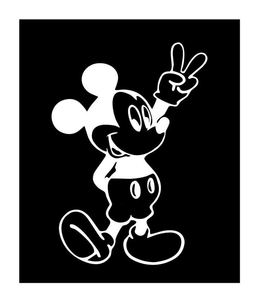 Details about mickey peace sign cartoon mouse 6x5 vinyl car truck window decal sticker
