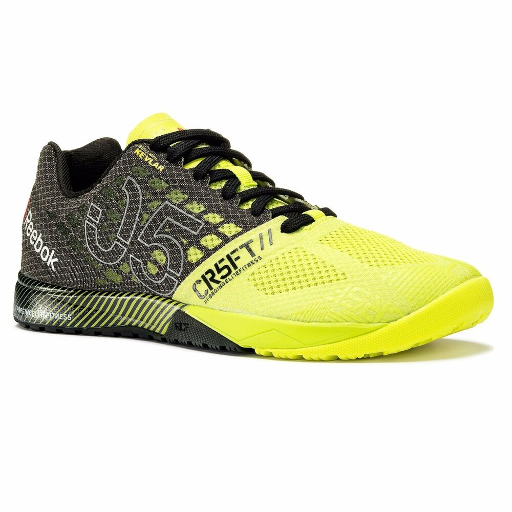 new women reebok nano 5 5 0 crossfit cross training sneakers v65895 yellow black ebay. Black Bedroom Furniture Sets. Home Design Ideas