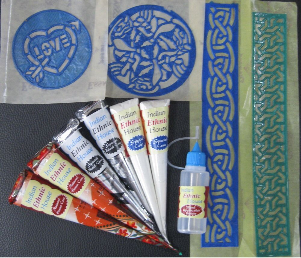 What Stores Sell Henna Tattoo Ink: 2 Natural + 2 Black + 2 White Henna Cones Temporary Tattoo