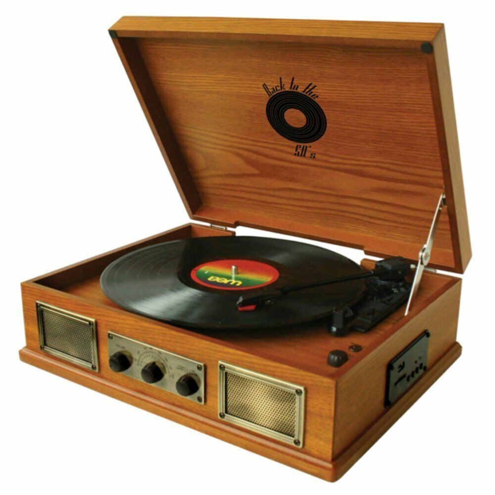 Back To The 50 S 3 Speed Wooden Turntable Vinyl Record