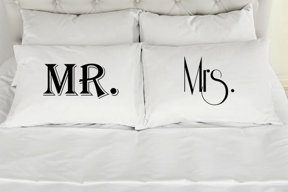 Mr And Mrs Couples Printed Pillowcases Set Of 2 Ebay