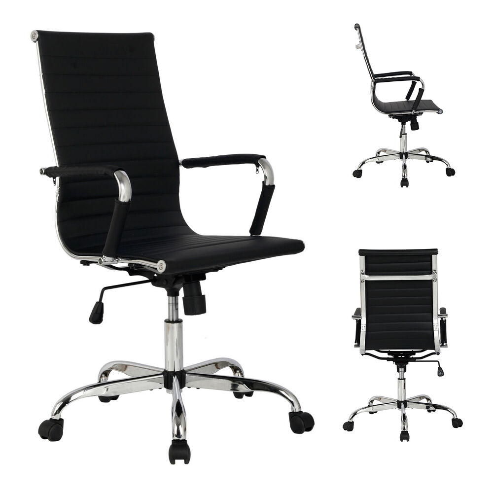 pu leather high back office chair black ribbed executive computer desk