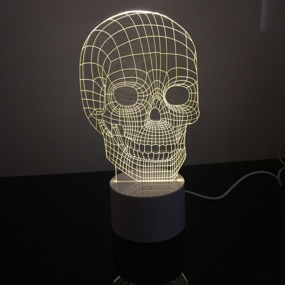 3D Mood Lamp Bulbing Light Skull Micro USB Table Lamp
