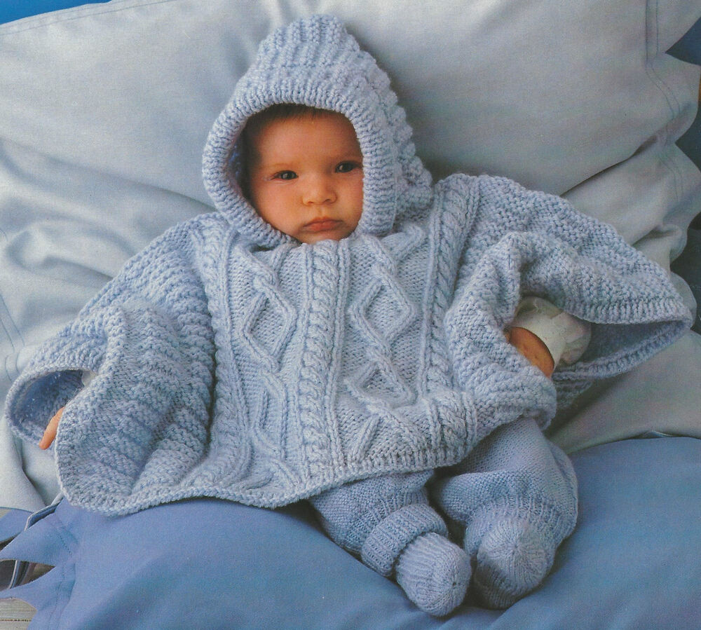 Aran Knitting Patterns For Babies : baby Poncho Knitting Pattern Aran 3-18months 509 eBay