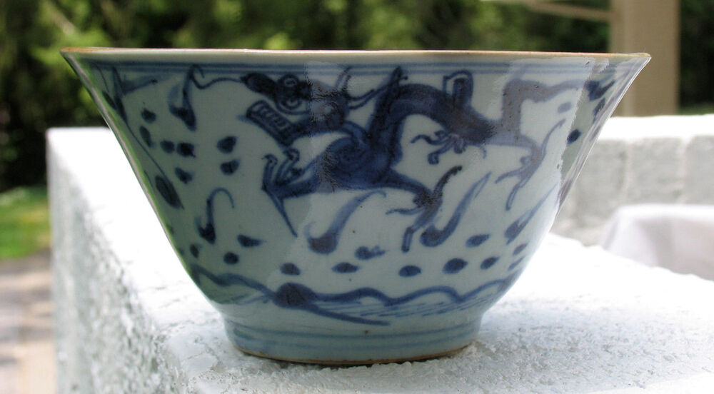 Chinese Asian Ming Or Early Qing Dynasty 3 Dragon 3 Claws Bowl Blue White Glaze Ebay