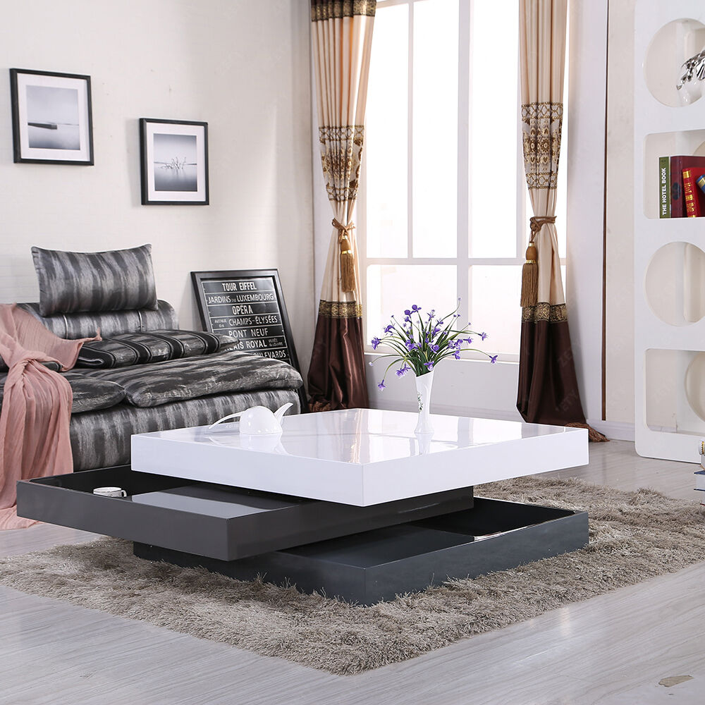 High Gloss White Gray Square Storage Rotatable Coffee Table With 3 Layers Ebay