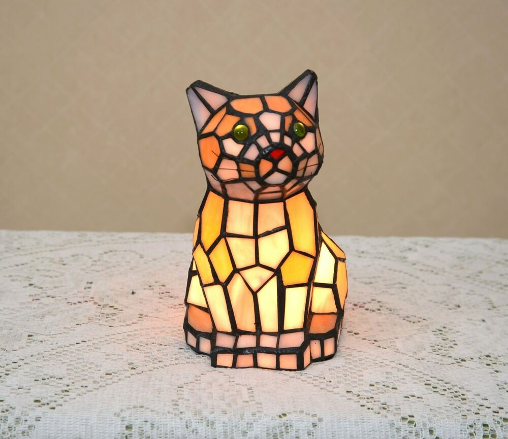 "Sold Out!8.5""H Stained Glass Tiffany Style Kitty Cat Night"