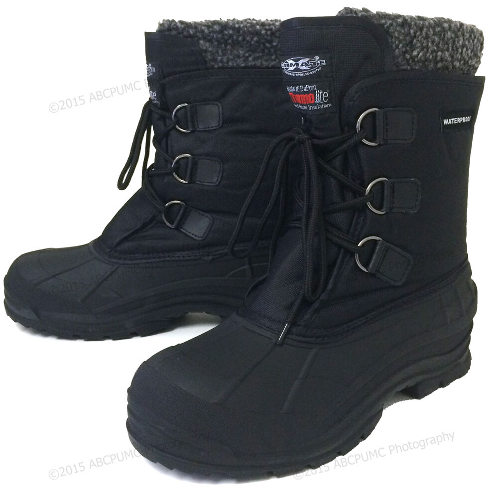 "Mens Winter Boots Waterproof Nylon 9"" Black Insulated"