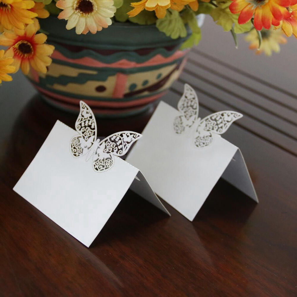 50pcs butterfly laser cut table place card name number for Name place cards wedding