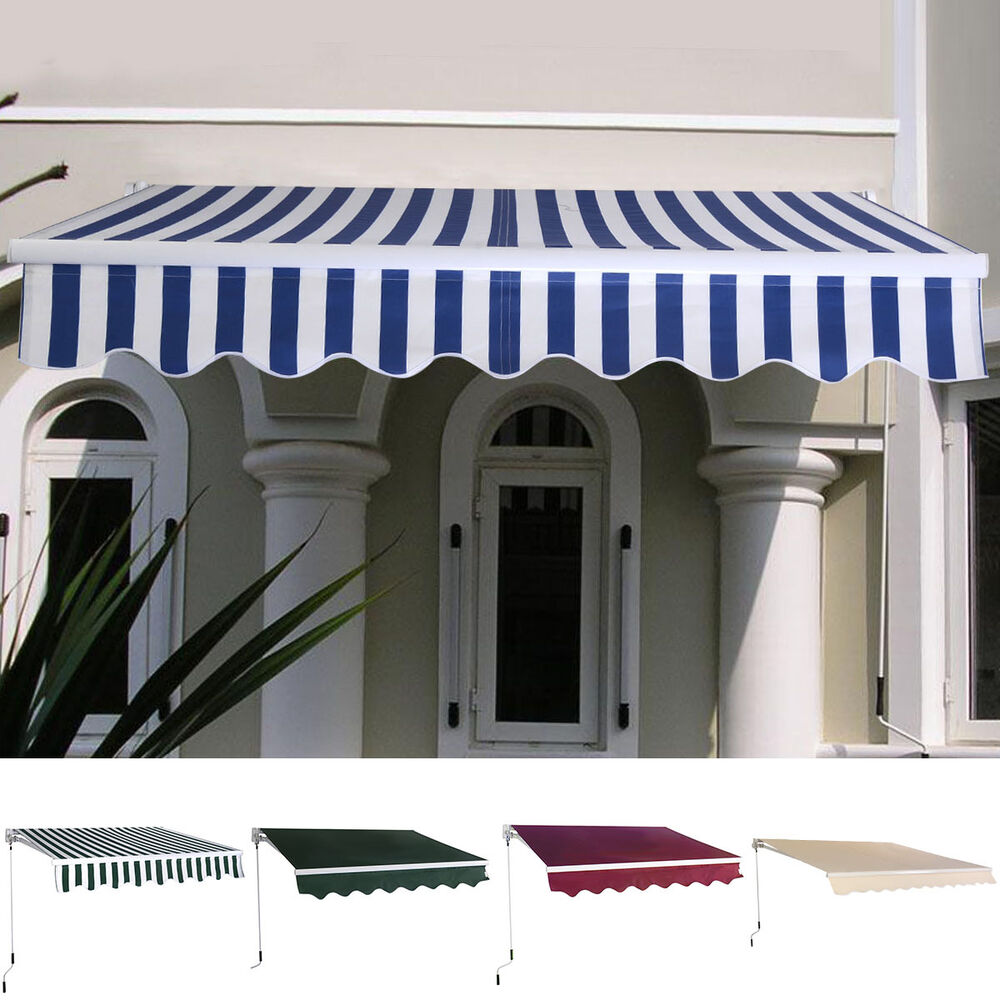 Manual Patio 6 4 39 5 39 Retractable Deck Awning Sunshade Shelter Canopy