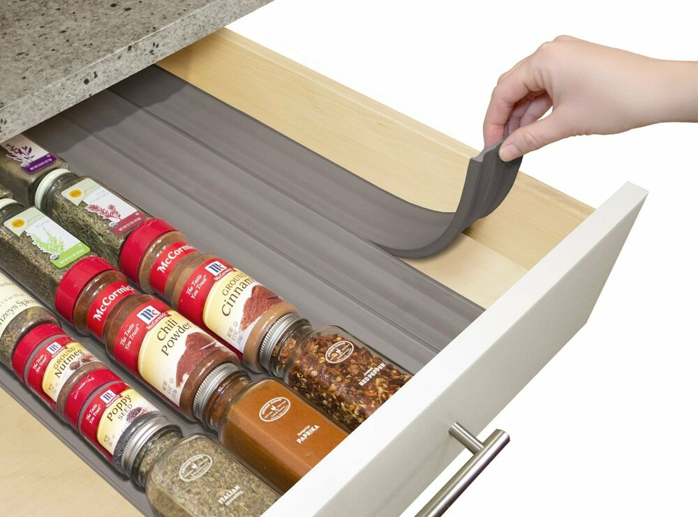 kitchen spice drawer organizer youcopia spiceliner home kitchen drawer spice storage 6112