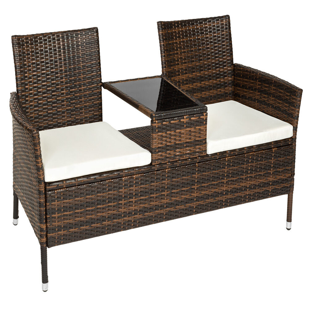 Poly Rattan Bench With Glass Table Garden Furniture 2 Seats Wicker Patio Brown Ebay