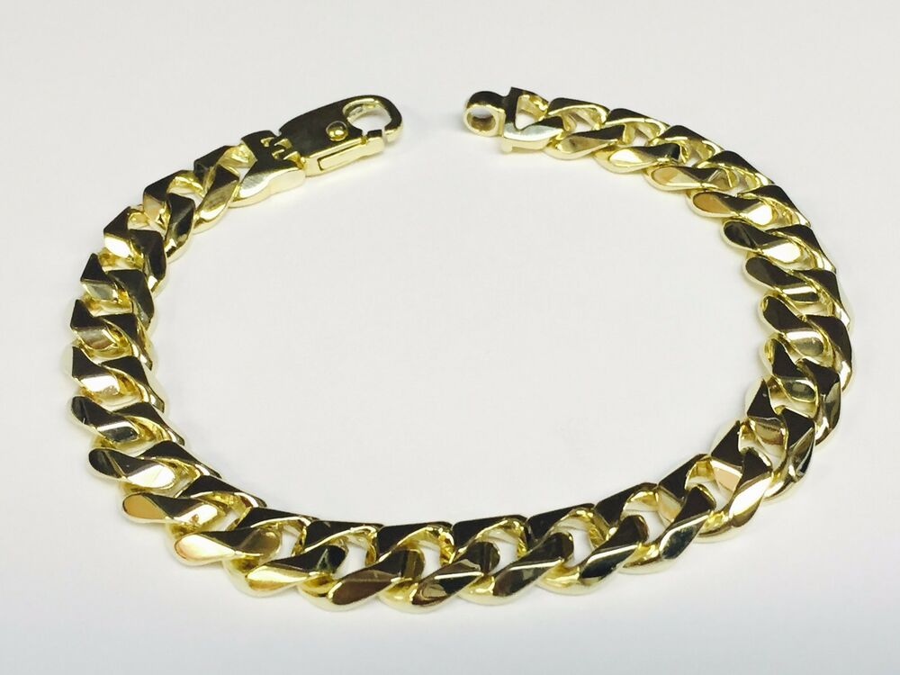 18kt solid Yellow gold Handmade Curb Link mens bracelet 8 ...