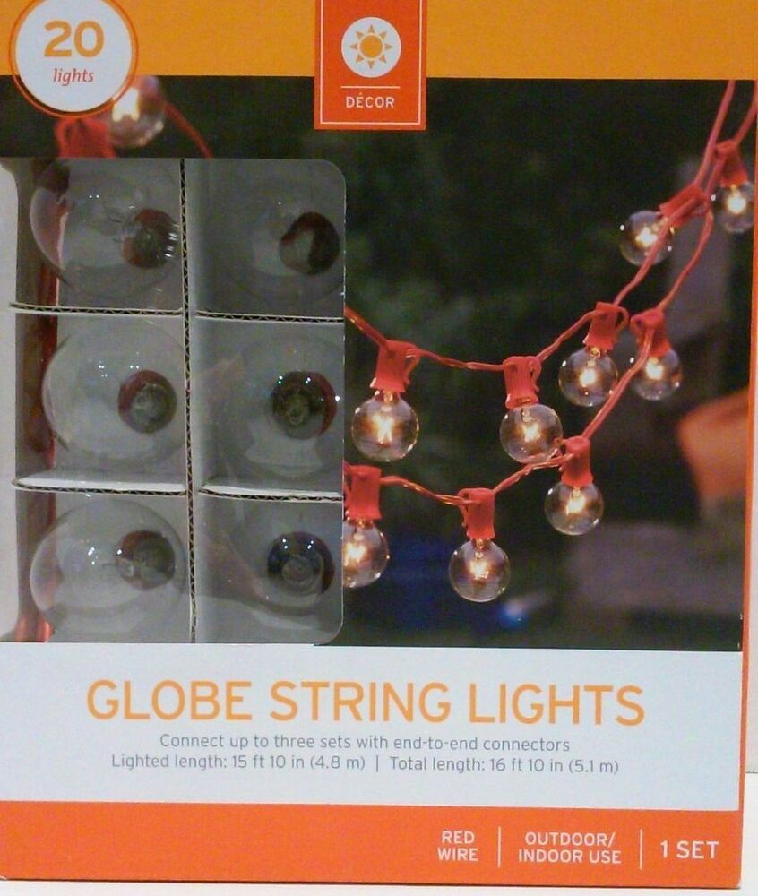 Target Globe String Light Set 20 Lights 16 Summer Patio Deck Red or White Wire eBay
