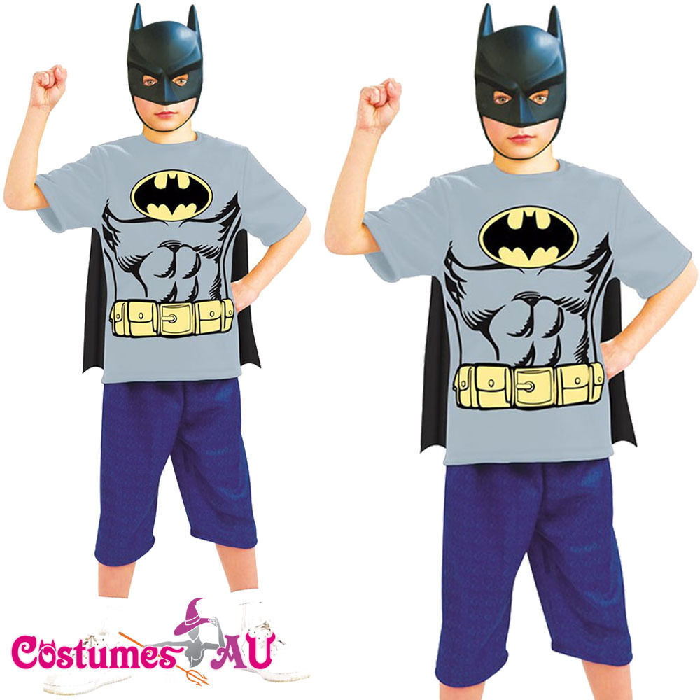 Licensed Kids Batman T Shirt Mask Cape Boys Rubies: boys superhero t shirts