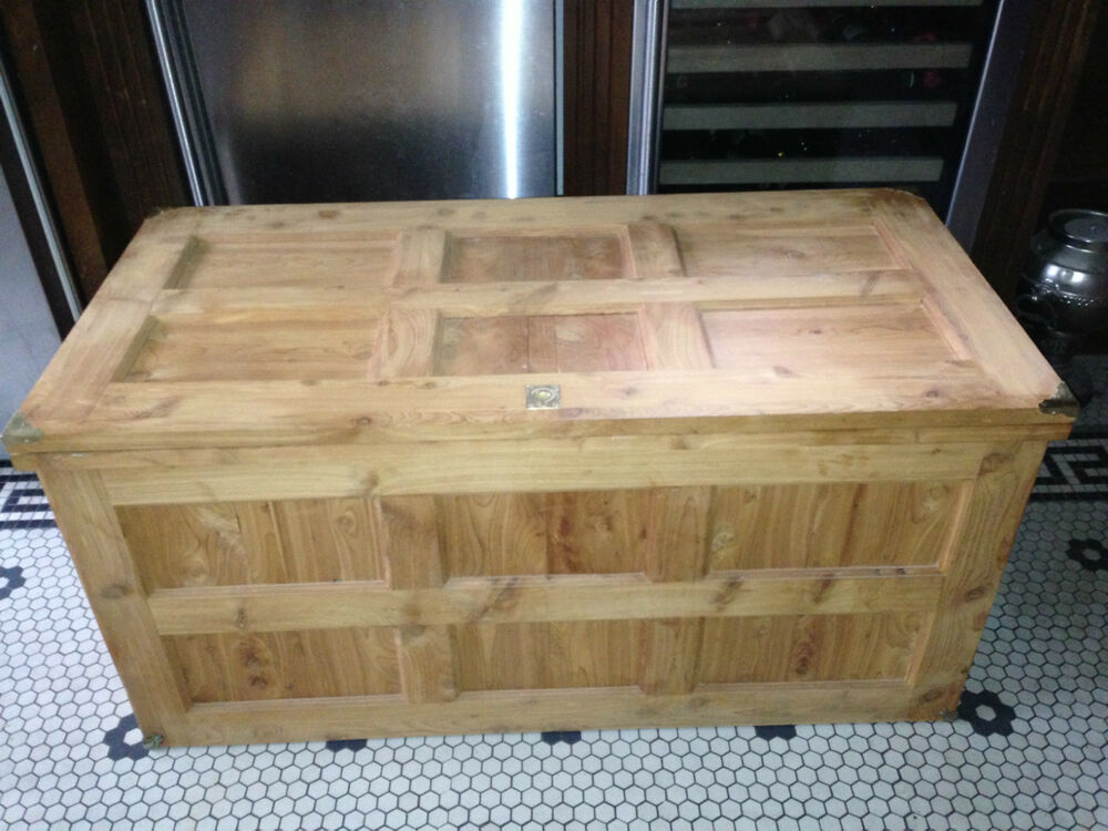Huge hand made paneled cedar trunk blanket chest crafted