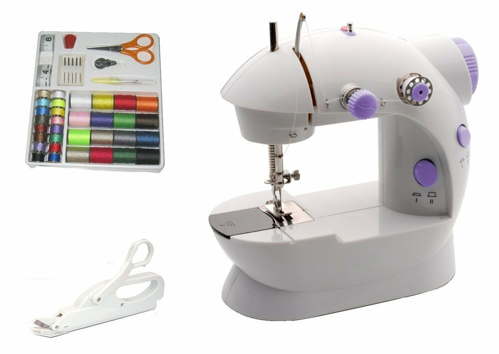 portable mini sewing machine 42pc kit electric ebay. Black Bedroom Furniture Sets. Home Design Ideas