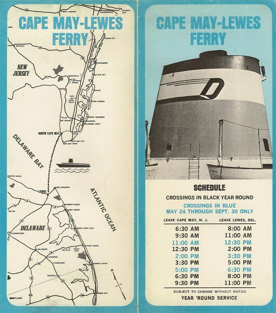 1970 cape may-lewes ferry schedule brochure road map new jersey