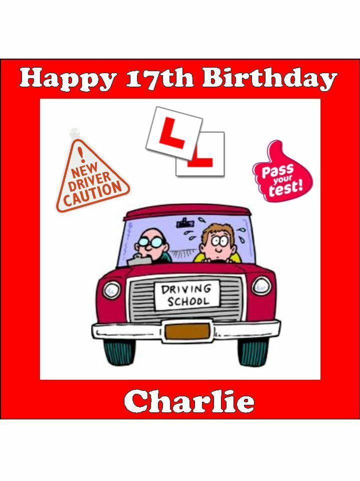 Personalised Learner Driver 17th Birthday L Plates Edible Cake