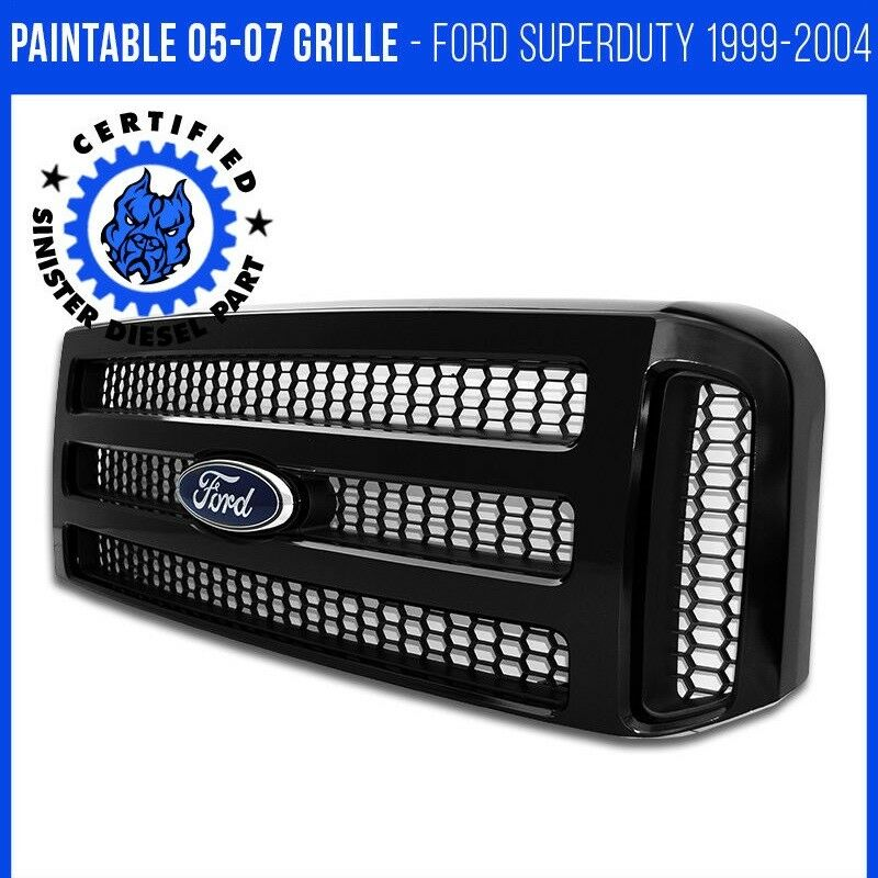 Ford black paintable grille 05 07 super duty 99 04 f250 for Super table ld 99