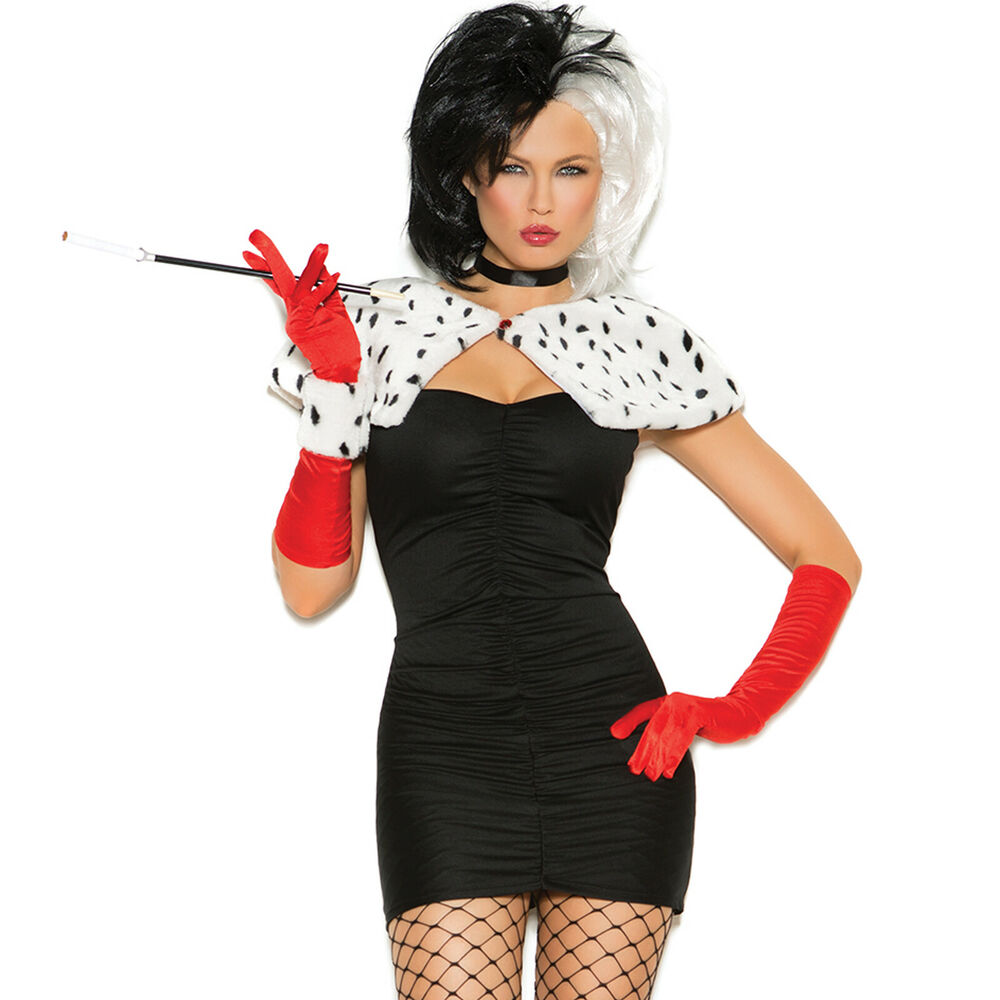 sexy dog napper costume dress shrug cruella de vil deville dalmations 9136 ebay. Black Bedroom Furniture Sets. Home Design Ideas