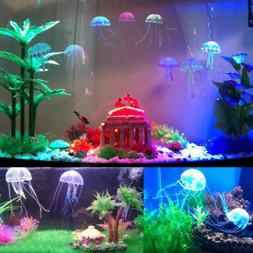 6 7 inch large glowing effect artificial jellyfish for Large aquarium fish