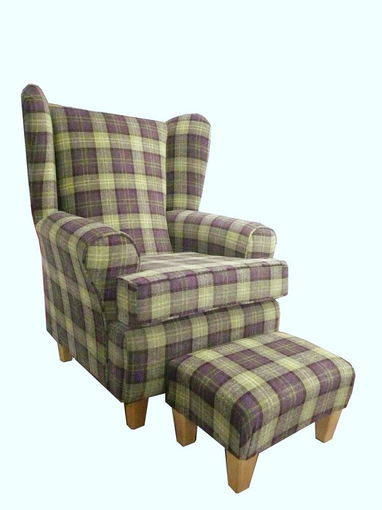 Plum Tartan Fabric Winged Back Chair Fireside Chair With