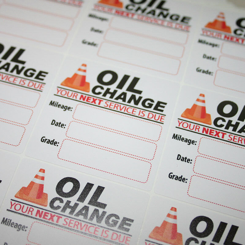 1000 Generic Oil Change Reminder Service Stickers White