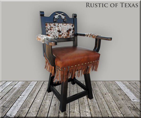 Two Pistols Western Swivel Bar Stool With Cowhide Ebay