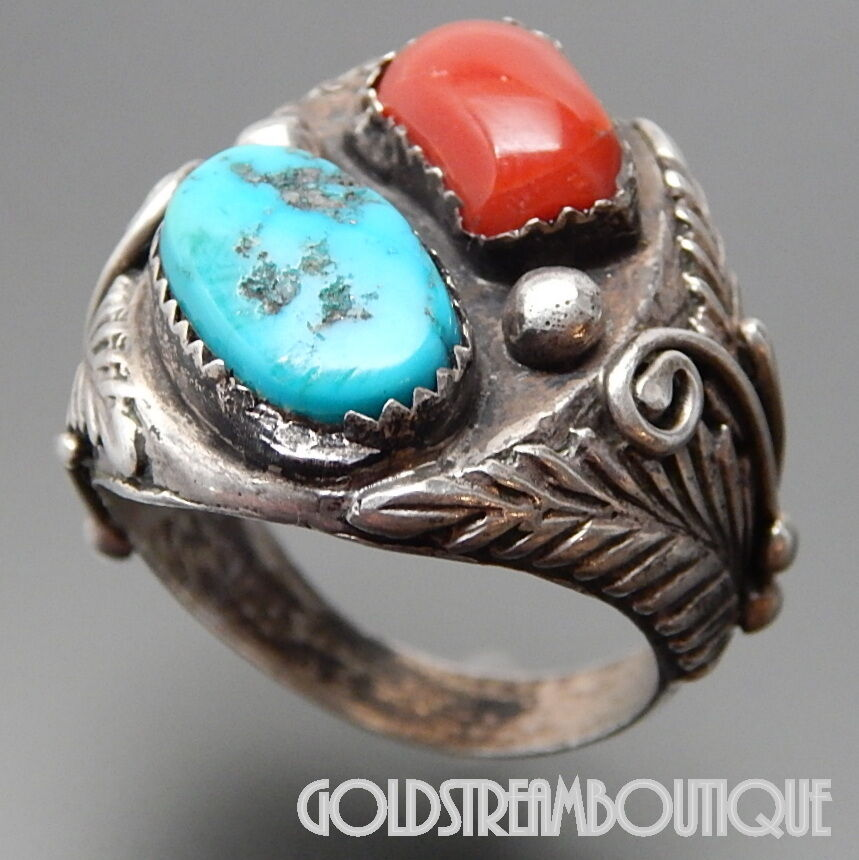 Vintage Old Pawn Marked Navajo Sterling Silver Coral