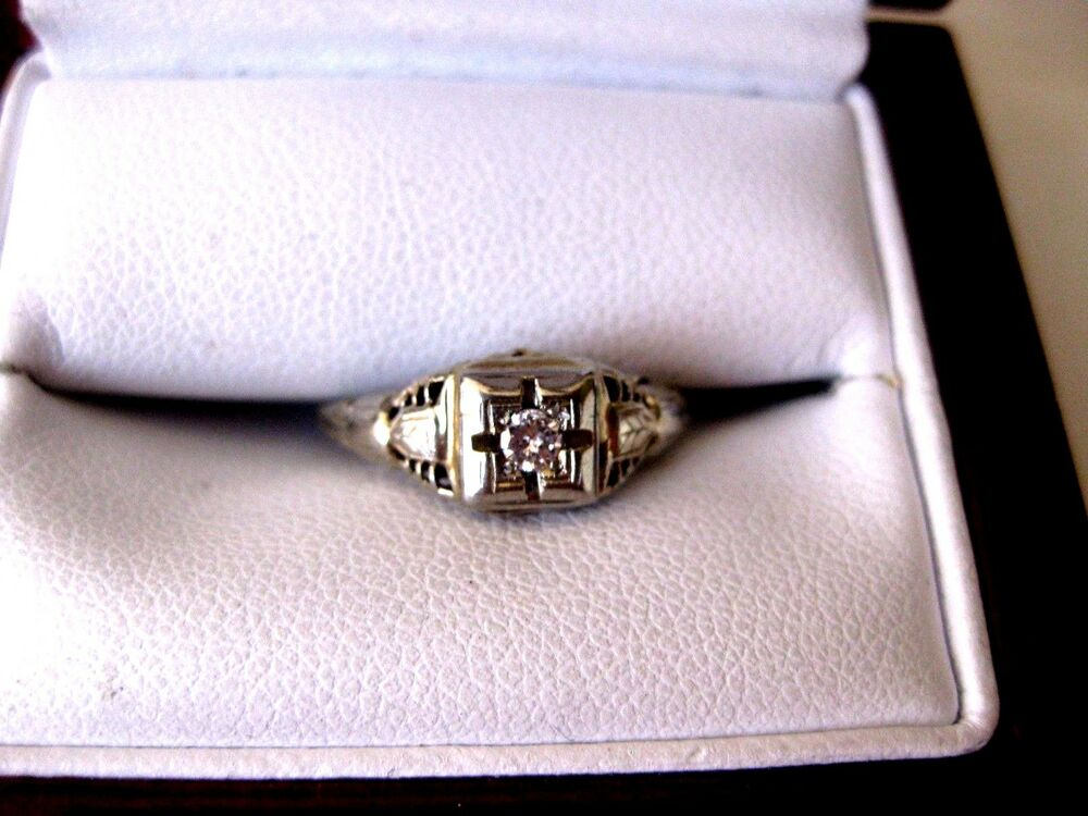 Antique 18k Yellow Gold Engagement Filigree Ring With