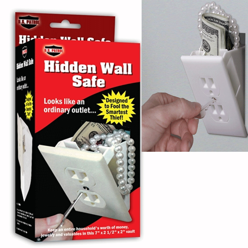 Hidden wall safe security electrical outlet keys vault False wall safe