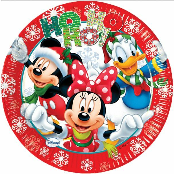 Mickey minnie mouse christmas xmas 23cm party plates 1 for Decorata party
