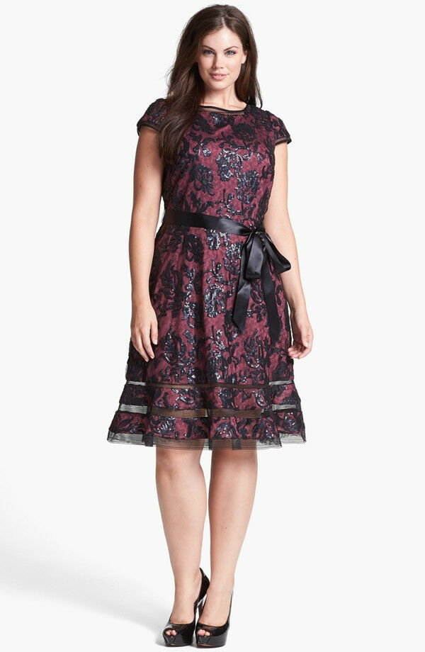 Adrianna Papell Sequin Lace Fit Amp Flare Dress Burgundy