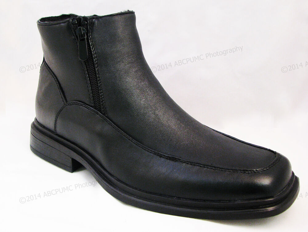 s winter boots black leather ankle fur lined both side