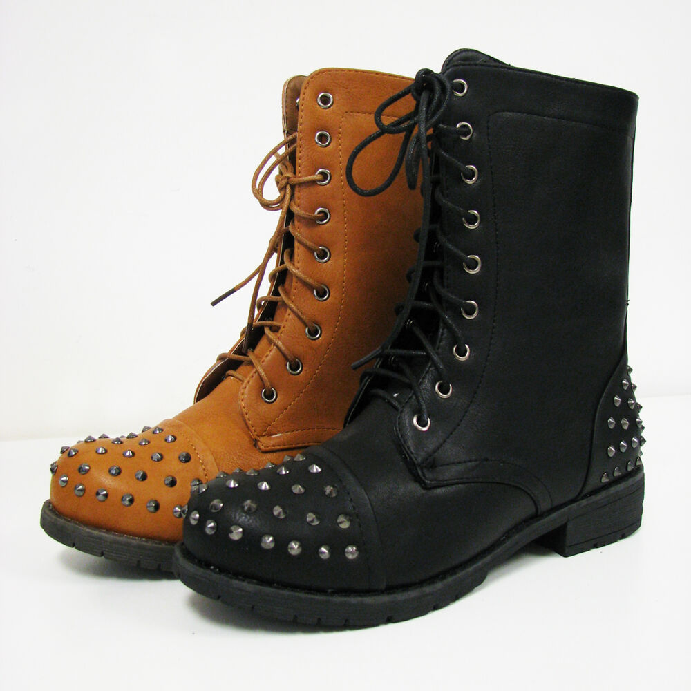 New Womens Spike Boots Combat Military Studs Mid Calf Lace ...