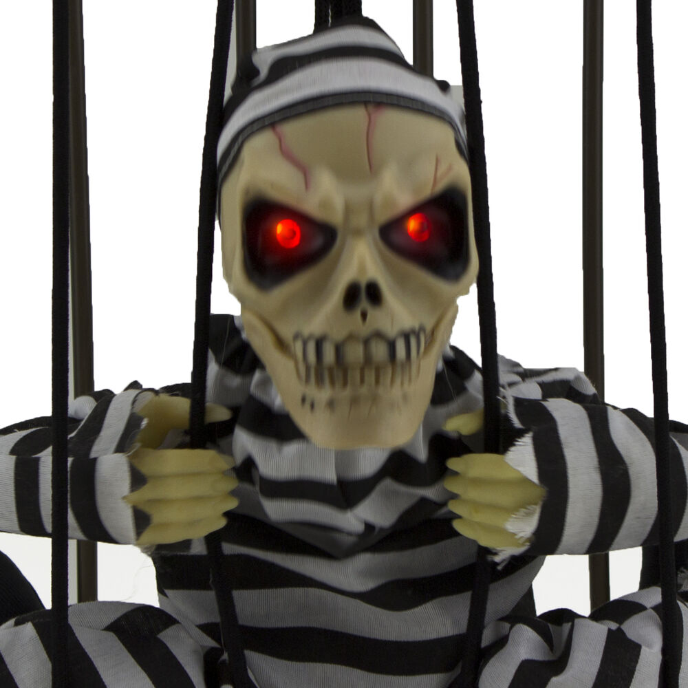 Hanging skeleton caged jail prisoner halloween decoration for Outdoor hanging ornaments