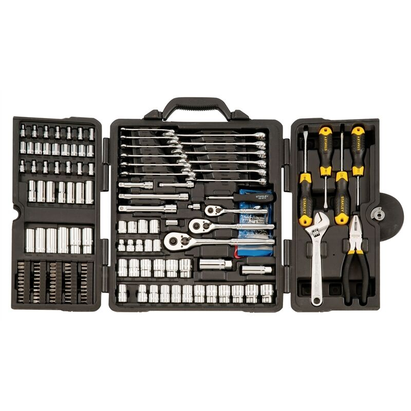 stanley 176 piece tool kit with carry case ebay. Black Bedroom Furniture Sets. Home Design Ideas