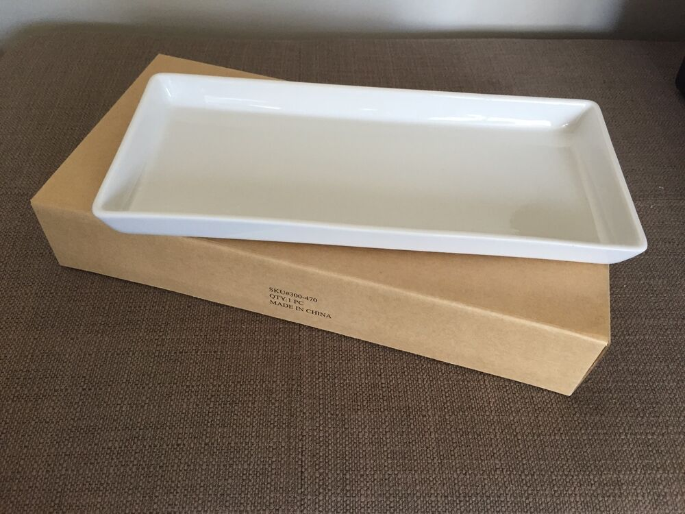 Crate Amp Barrel Rectangular Pure White Porcelain Serving Tray Ebay