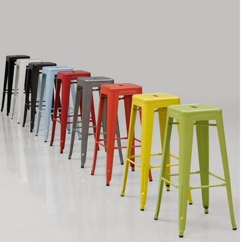 2 Bar Stools Metal 24 Kitchen Counter Stackable Barstool