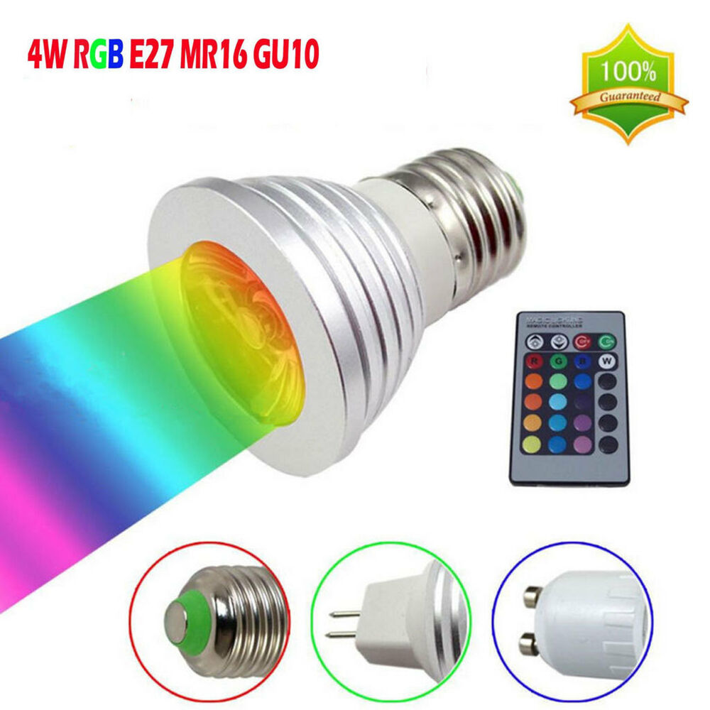 colorful 4w gu10 e27 mr16 led rgb light bulb lamp spotlight remote control g1 ebay. Black Bedroom Furniture Sets. Home Design Ideas