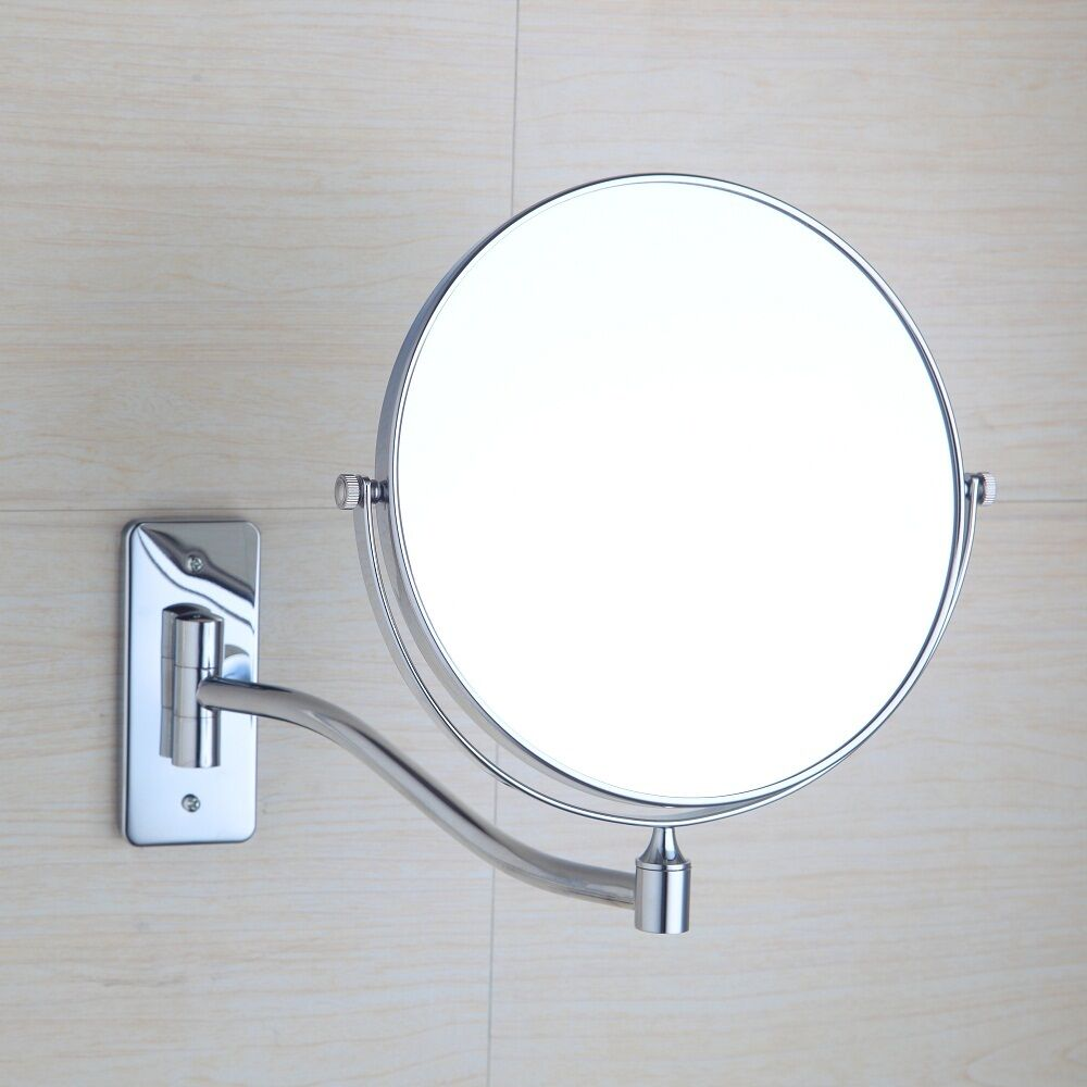 Wall mount bathroom cosmetic mirror round magnifying for Wall mounted mirror
