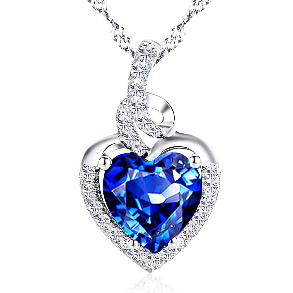 cttw created blue sapphire heart pendant necklace. Black Bedroom Furniture Sets. Home Design Ideas