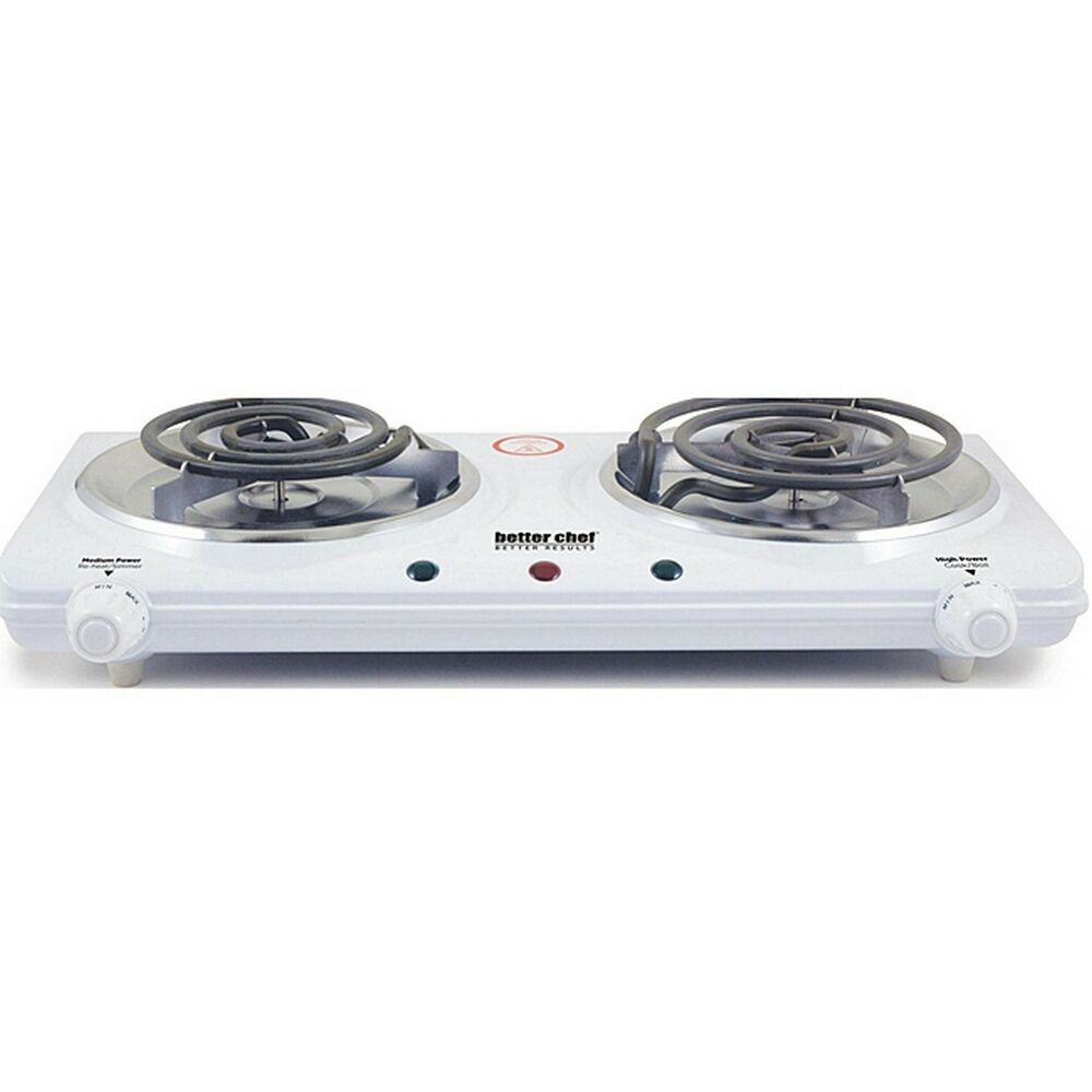 better chef double dual electric burner hot plate white enamel new free shipping ebay. Black Bedroom Furniture Sets. Home Design Ideas